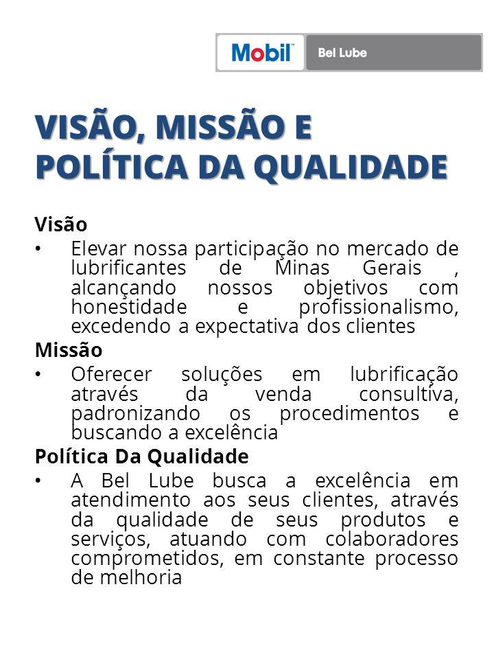 VISÃO, MISSÃO E POLÍTICA DA QUALIDADE Visão Elevar nossa participação no mercado de lubrificantes de Minas Gerais, alcançando nossos objetivos com hon
