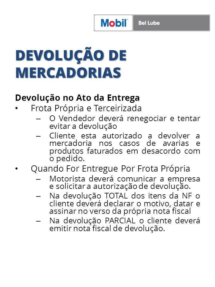 DEVOLUÇÃO DE MERCADORIAS Devolução no Ato da Entrega Frota Própria e Terceirizada – O Vendedor deverá renegociar e tentar evitar a devolução – Cliente
