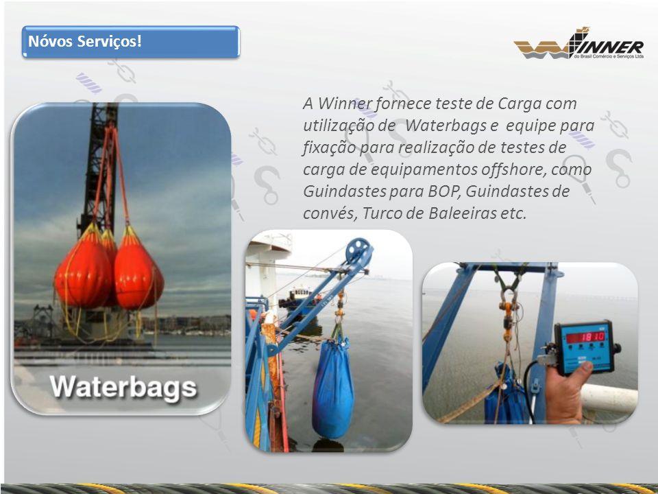 A Winner fornece teste de Carga com utilização de Waterbags e equipe para fixação para realização de testes de carga de equipamentos offshore, como Gu