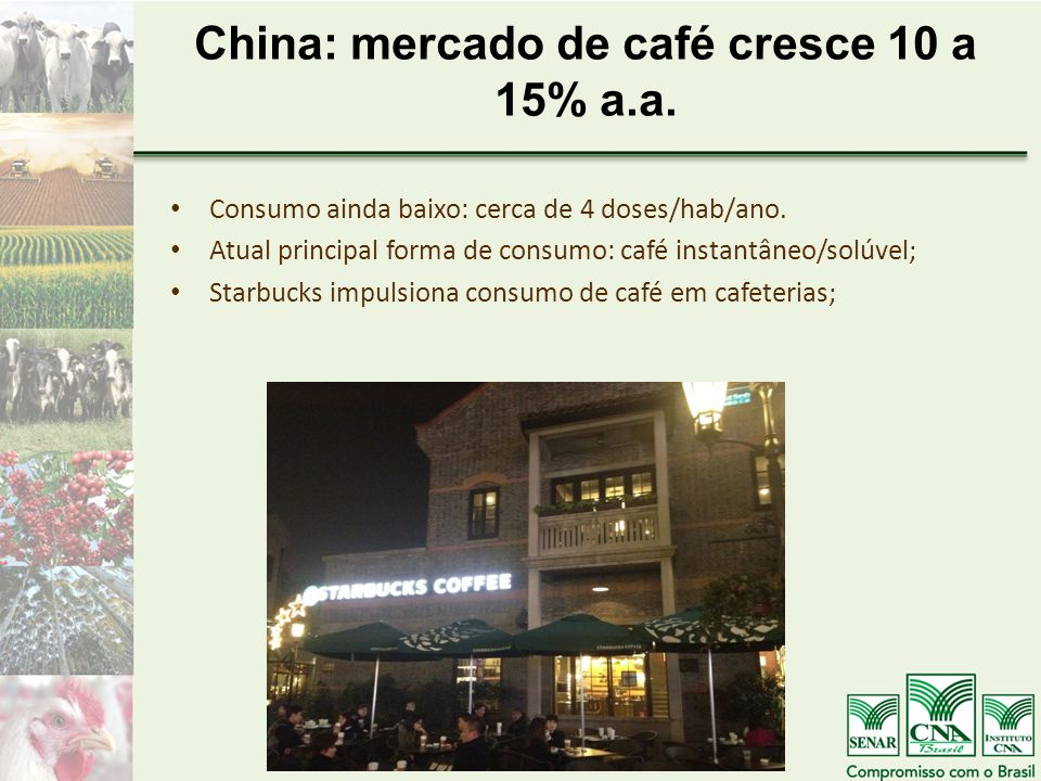 China: mercado de café cresce 10 a 15% a.a.Consumo ainda baixo: cerca de 4 doses/hab/ano.