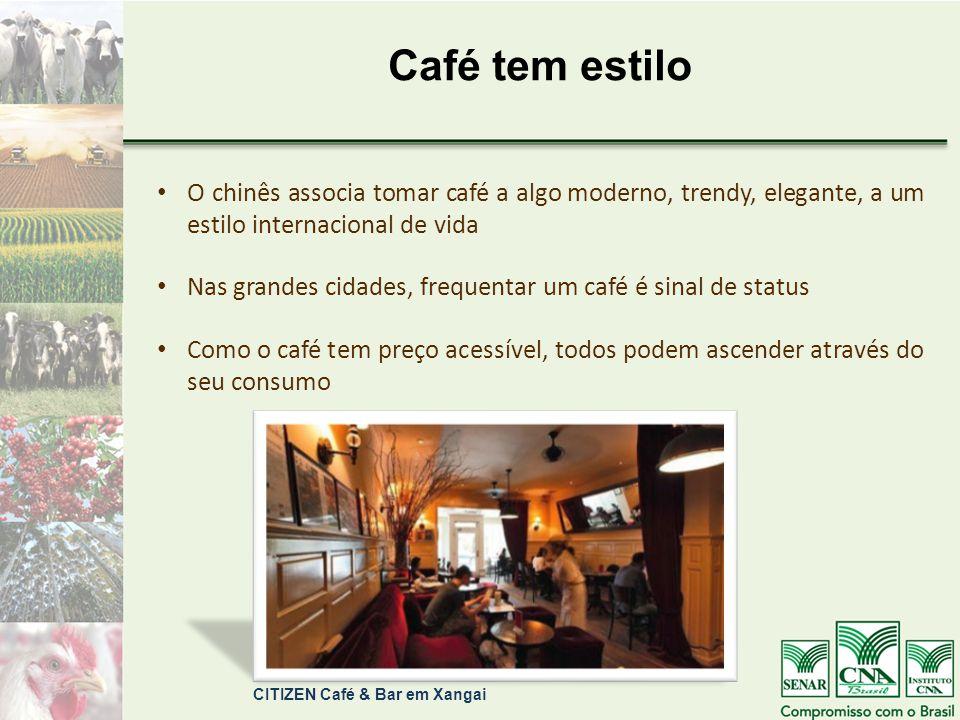 Café tem estilo O chinês associa tomar café a algo moderno, trendy, elegante, a um estilo internacional de vida Nas grandes cidades, frequentar um café é sinal de status Como o café tem preço acessível, todos podem ascender através do seu consumo CITIZEN Café & Bar em Xangai