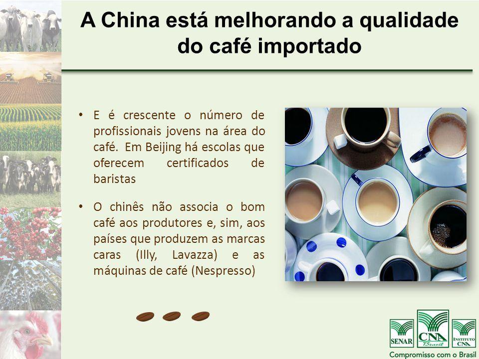A China está melhorando a qualidade do café importado E é crescente o número de profissionais jovens na área do café.
