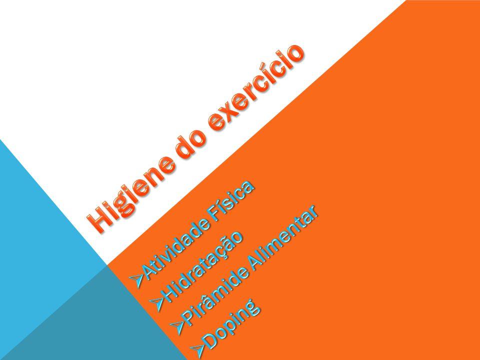 HIGIENE DO EXERCÍCIO É: A AQUISIÇÃO E MANUTENÇÃO DE HÁBITOS SAUDÁVEIS DE VIDA, QUE INCLUEM ALIMENTAÇÃO EQUILIBRADA, SONO REGULAR, EXERCÍCIOS, HIGIENE E LAZER.