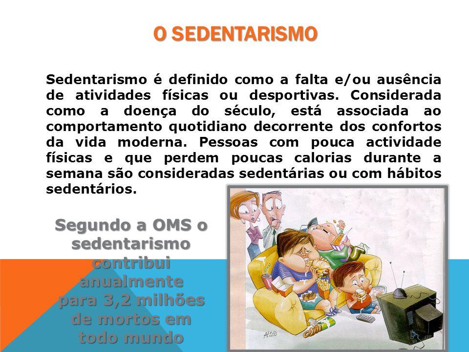 O SEDENTARISMO Sedentarismo é definido como a falta e/ou ausência de atividades físicas ou desportivas. Considerada como a doença do século, está asso