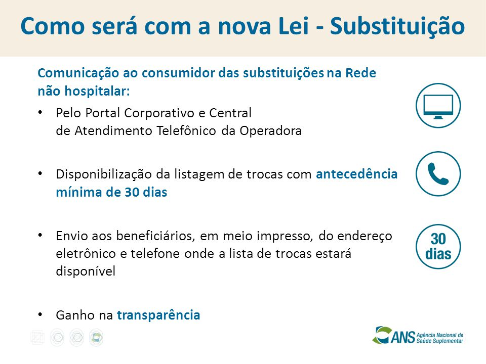 Como será com a nova Lei - Substituição Comunicação ao consumidor das substituições na Rede não hospitalar: Pelo Portal Corporativo e Central de Atend
