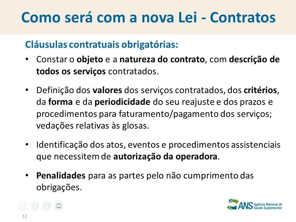 Como será com a nova Lei - Contratos Cláusulas contratuais obrigatórias: Constar o objeto e a natureza do contrato, com descrição de todos os serviços