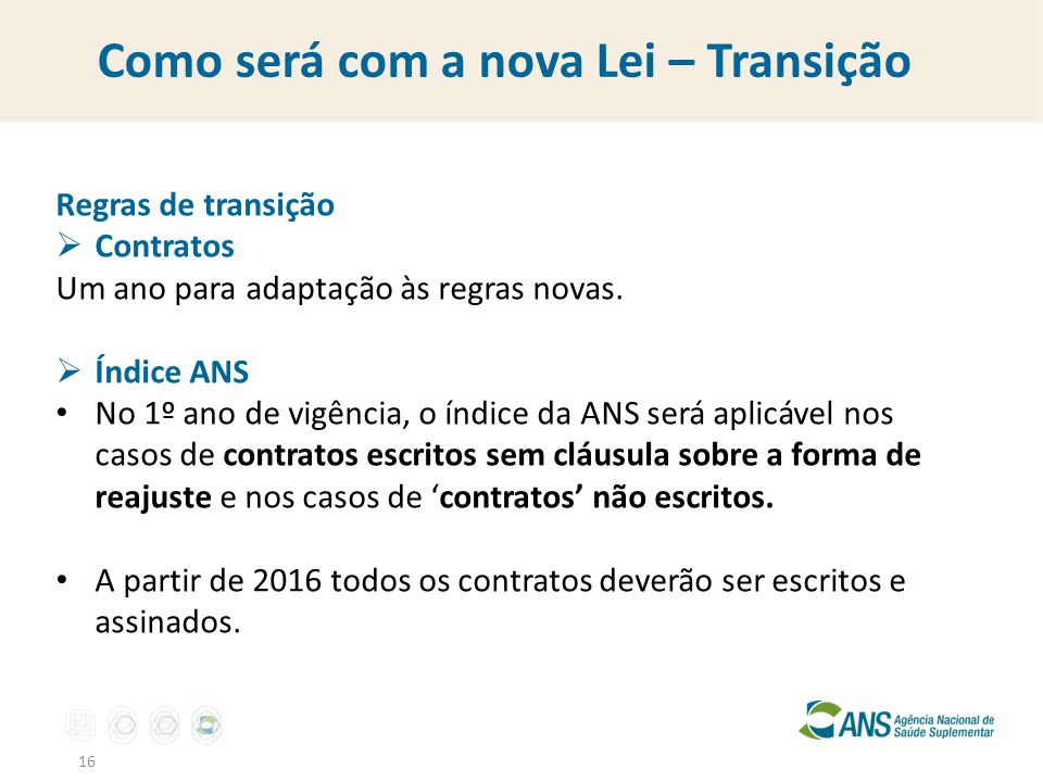 Como será com a nova Lei – Transição 16 Regras de transição  Contratos Um ano para adaptação às regras novas.  Índice ANS No 1º ano de vigência, o í