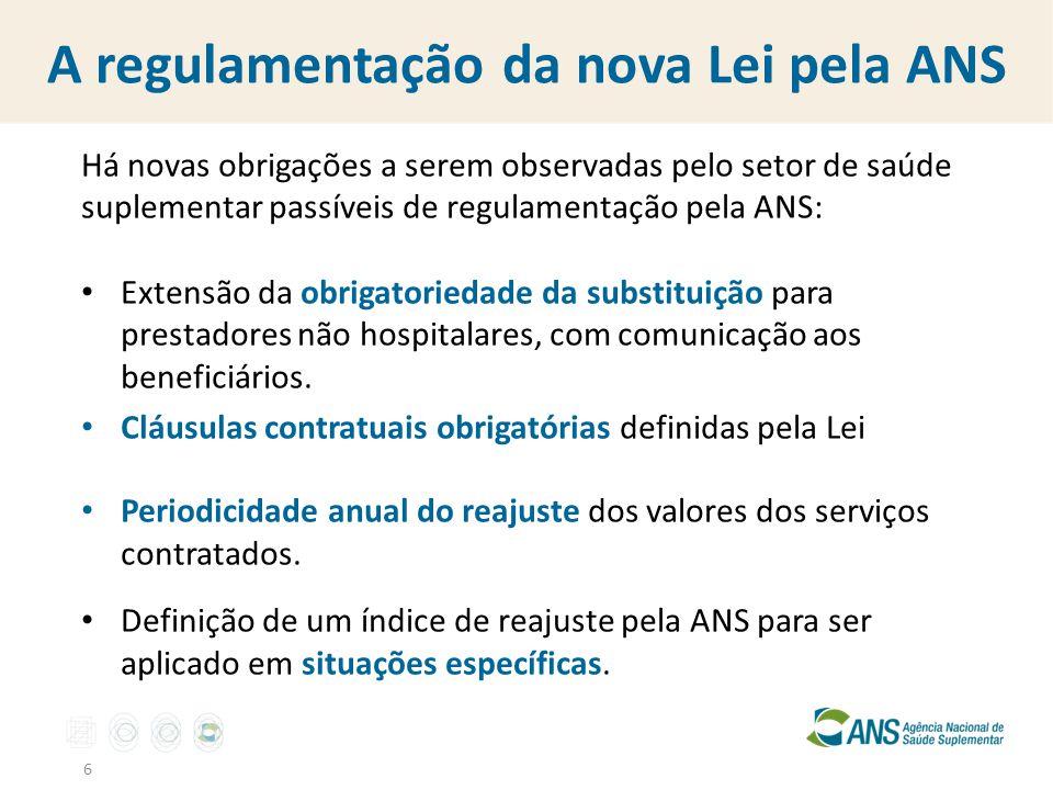 Há novas obrigações a serem observadas pelo setor de saúde suplementar passíveis de regulamentação pela ANS: Extensão da obrigatoriedade da substituiç