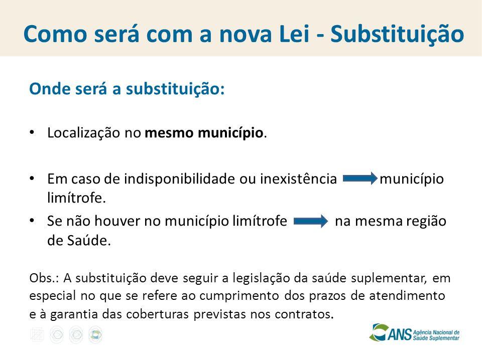 Como será com a nova Lei - Substituição Onde será a substituição: Localização no mesmo município. Em caso de indisponibilidade ou inexistência municíp