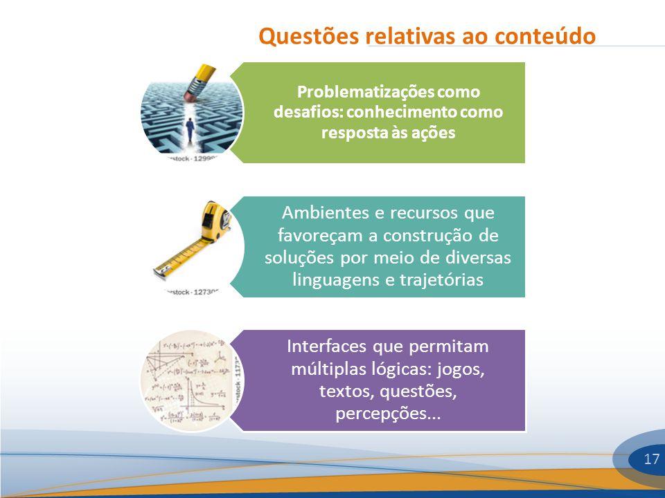 Questões relativas ao conteúdo 17 Problematizações como desafios: conhecimento como resposta às ações Ambientes e recursos que favoreçam a construção