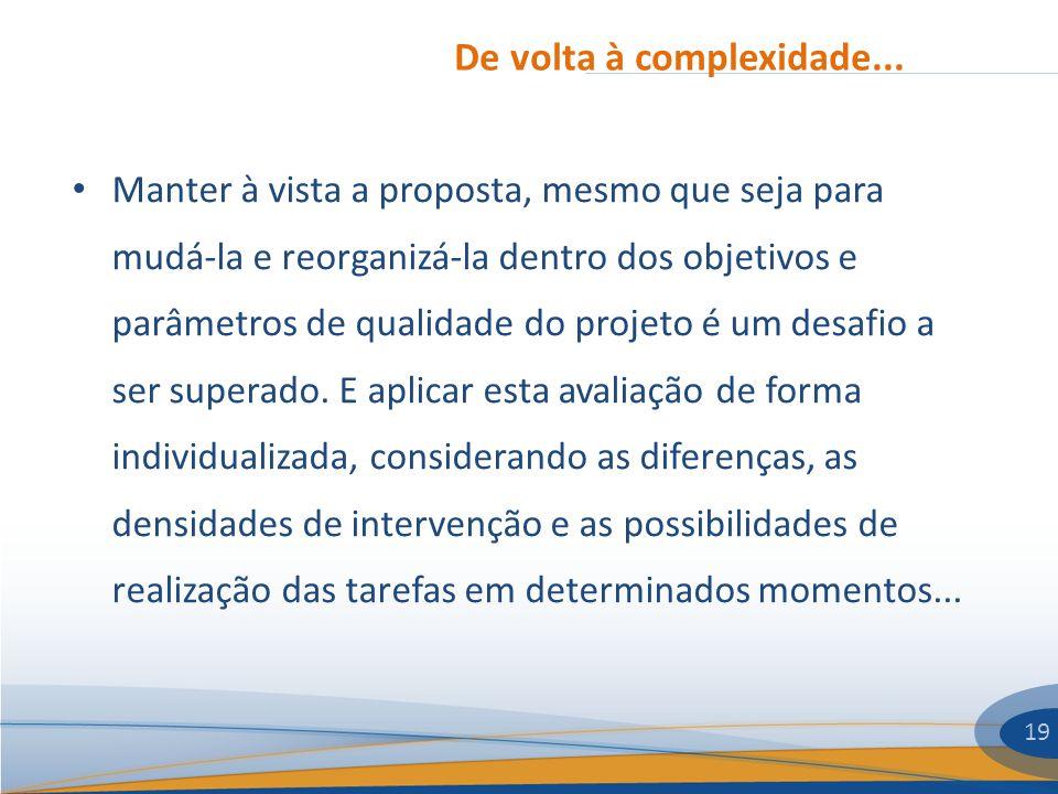 De volta à complexidade... 19 Manter à vista a proposta, mesmo que seja para mudá-la e reorganizá-la dentro dos objetivos e parâmetros de qualidade do
