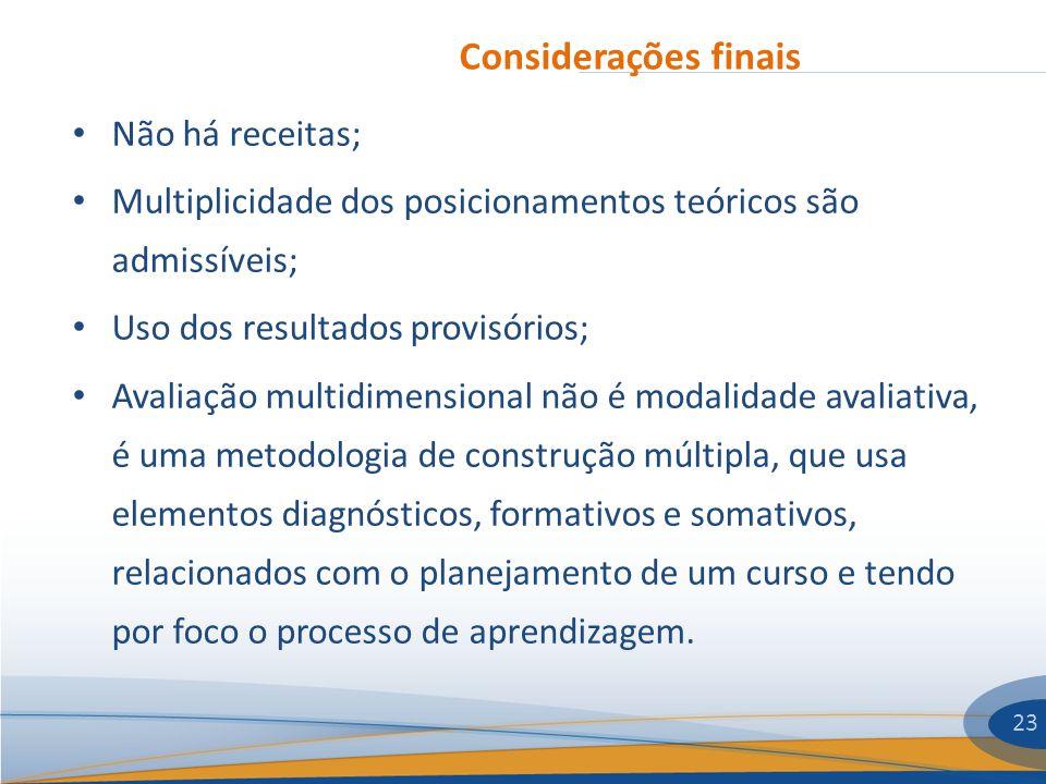 Considerações finais 23 Não há receitas; Multiplicidade dos posicionamentos teóricos são admissíveis; Uso dos resultados provisórios; Avaliação multid