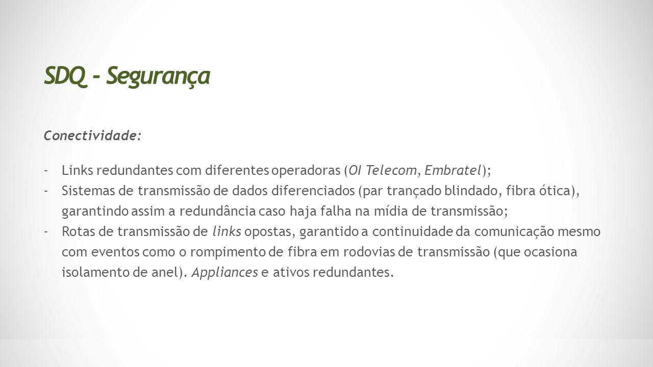 Conectividade: -Links redundantes com diferentes operadoras (OI Telecom, Embratel); -Sistemas de transmissão de dados diferenciados (par trançado blin
