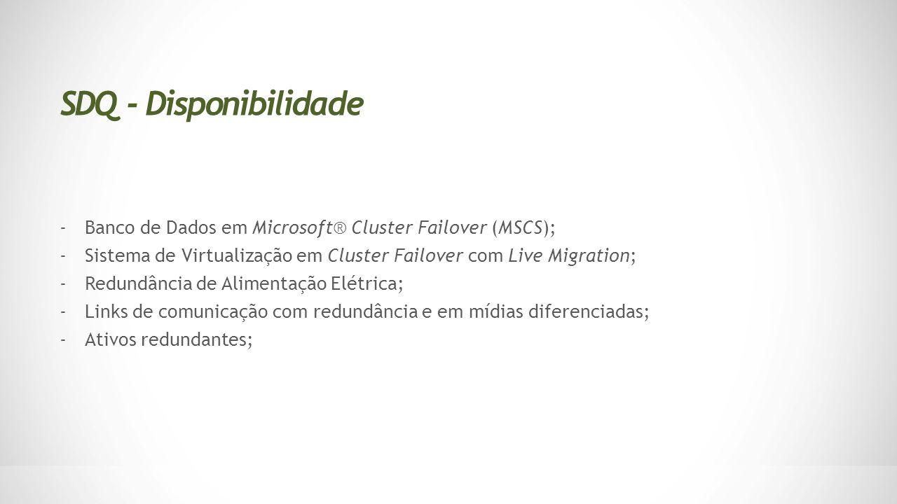 -Banco de Dados em Microsoft® Cluster Failover (MSCS); -Sistema de Virtualização em Cluster Failover com Live Migration; -Redundância de Alimentação E