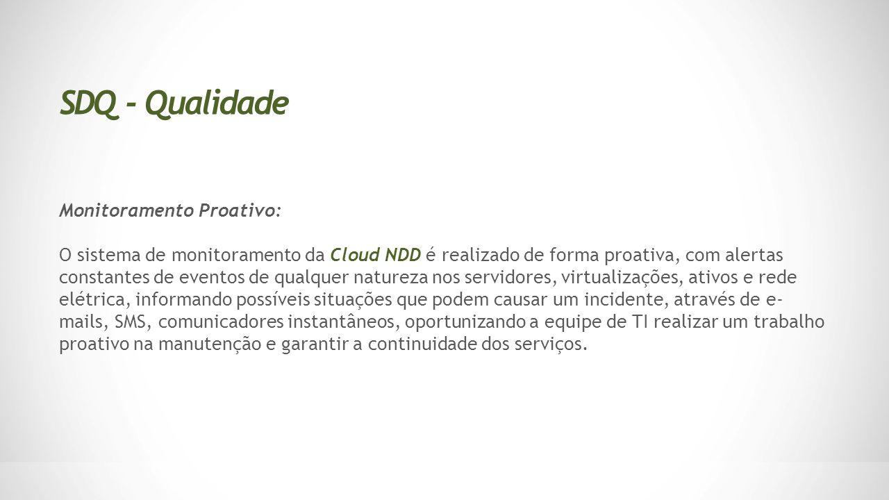 Monitoramento Proativo: O sistema de monitoramento da Cloud NDD é realizado de forma proativa, com alertas constantes de eventos de qualquer natureza