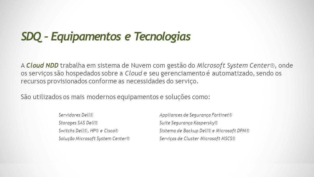 A Cloud NDD trabalha em sistema de Nuvem com gestão do Microsoft System Center®, onde os serviços são hospedados sobre a Cloud e seu gerenciamento é a