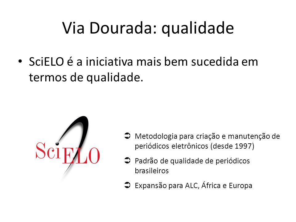 SciELO é a iniciativa mais bem sucedida em termos de qualidade. Via Dourada: qualidade  Metodologia para criação e manutenção de periódicos eletrônic