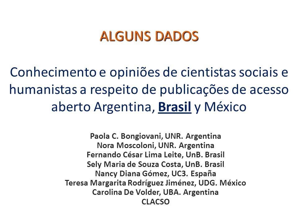 ALGUNS DADOS ALGUNS DADOS Conhecimento e opiniões de cientistas sociais e humanistas a respeito de publicações de acesso aberto Argentina, Brasil y Mé