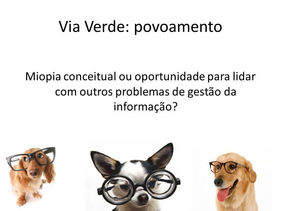 Miopia conceitual ou oportunidade para lidar com outros problemas de gestão da informação? Via Verde: povoamento