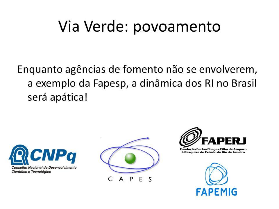 Enquanto agências de fomento não se envolverem, a exemplo da Fapesp, a dinâmica dos RI no Brasil será apática! Via Verde: povoamento