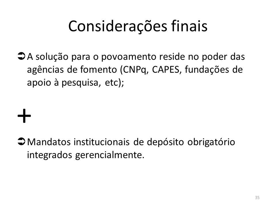 Considerações finais  A solução para o povoamento reside no poder das agências de fomento (CNPq, CAPES, fundações de apoio à pesquisa, etc); +  Mandatos institucionais de depósito obrigatório integrados gerencialmente.