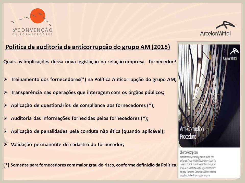 Política de auditoria de anticorrupção do grupo AM (2015) Quais as implicações dessa nova legislação na relação empresa - fornecedor?  Treinamento do