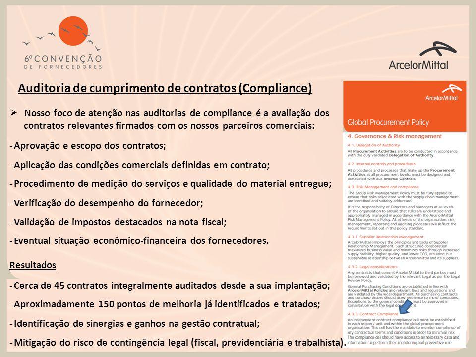 Auditoria de cumprimento de contratos (Compliance)  Nosso foco de atenção nas auditorias de compliance é a avaliação dos contratos relevantes firmado