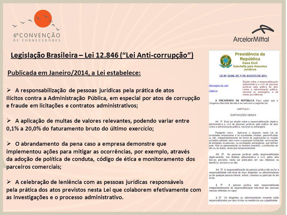"""Legislação Brasileira – Lei 12.846 (""""Lei Anti-corrupção"""")  A responsabilização de pessoas jurídicas pela prática de atos Ilícitos contra a Administra"""