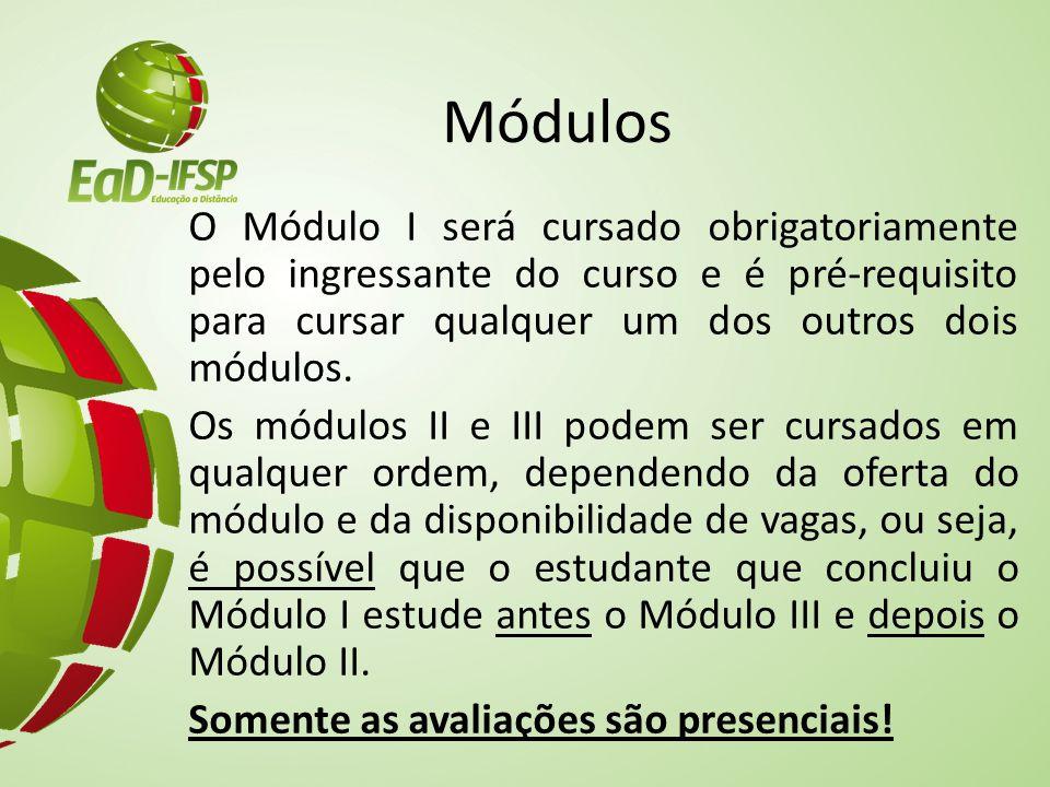 Módulos O Módulo I será cursado obrigatoriamente pelo ingressante do curso e é pré-requisito para cursar qualquer um dos outros dois módulos. Os módul