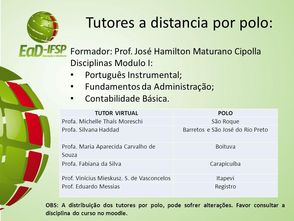 Tutores a distancia por polo: Formador: Prof. José Hamilton Maturano Cipolla Disciplinas Modulo I: Português Instrumental; Fundamentos da Administraçã