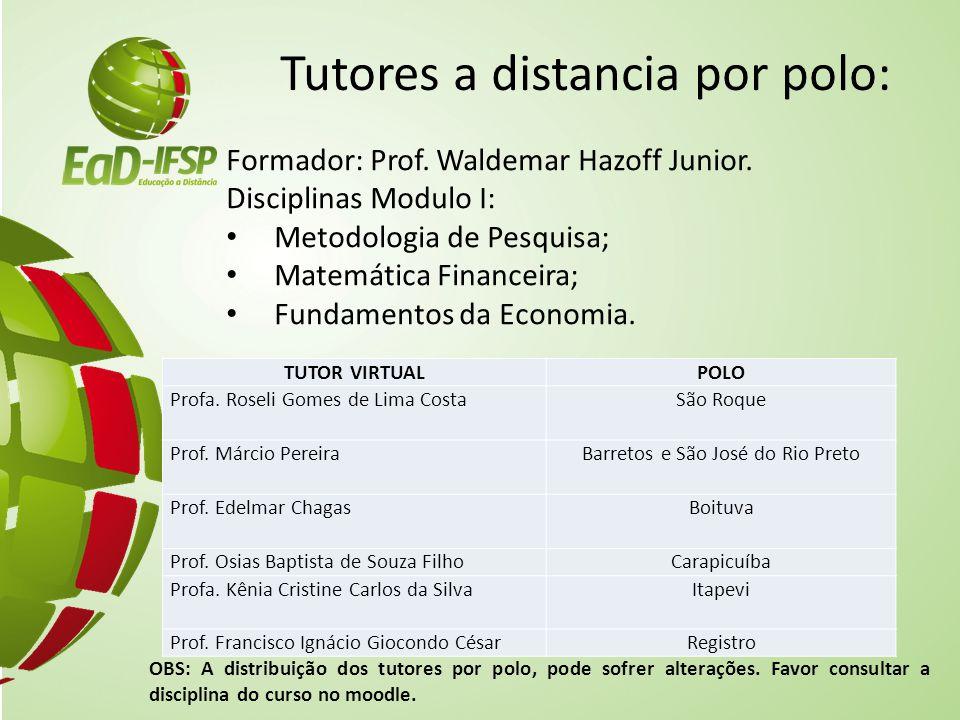 Tutores a distancia por polo: Formador: Prof. Waldemar Hazoff Junior. Disciplinas Modulo I: Metodologia de Pesquisa; Matemática Financeira; Fundamento