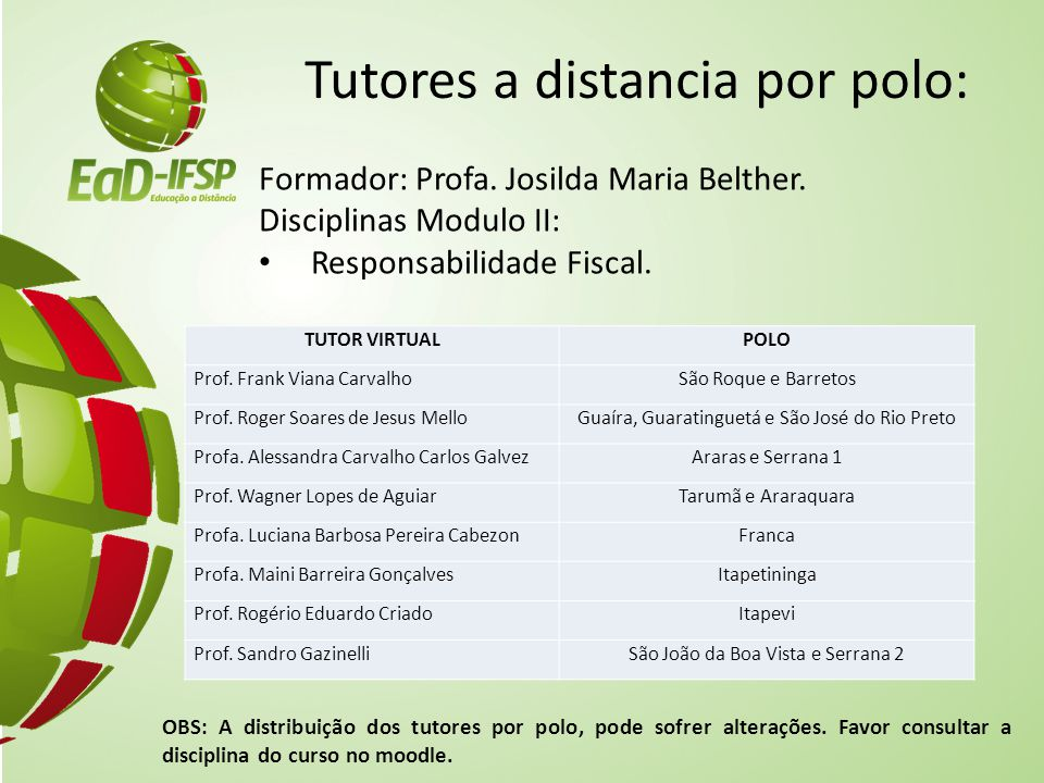 Tutores a distancia por polo: Formador: Profa. Josilda Maria Belther. Disciplinas Modulo II: Responsabilidade Fiscal. OBS: A distribuição dos tutores