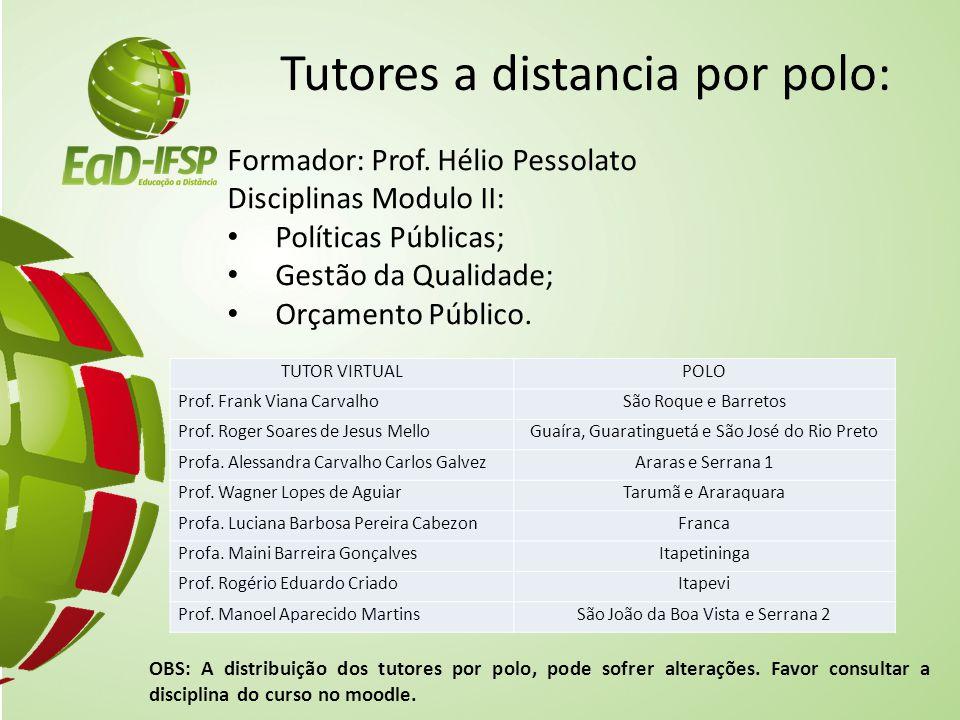 Tutores a distancia por polo: Formador: Prof. Hélio Pessolato Disciplinas Modulo II: Políticas Públicas; Gestão da Qualidade; Orçamento Público. OBS: