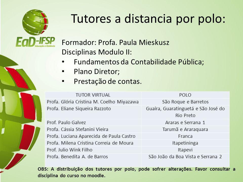 Tutores a distancia por polo: Formador: Profa. Paula Mieskusz Disciplinas Modulo II: Fundamentos da Contabilidade Pública; Plano Diretor; Prestação de