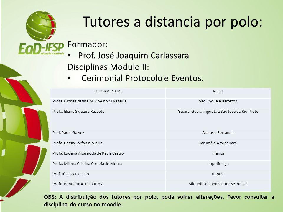 Tutores a distancia por polo: Formador: Prof. José Joaquim Carlassara Disciplinas Modulo II: Cerimonial Protocolo e Eventos. OBS: A distribuição dos t