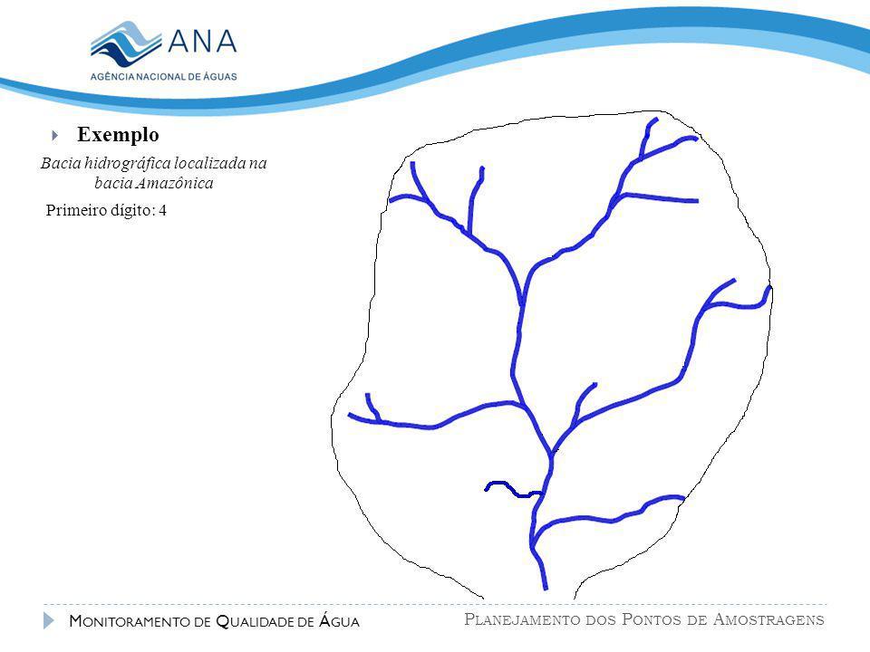 P LANEJAMENTO DOS P ONTOS DE A MOSTRAGENS M ONITORAMENTO DE Q UALIDADE DE Á GUA  Exemplo Bacia hidrográfica localizada na bacia Amazônica Primeiro dí