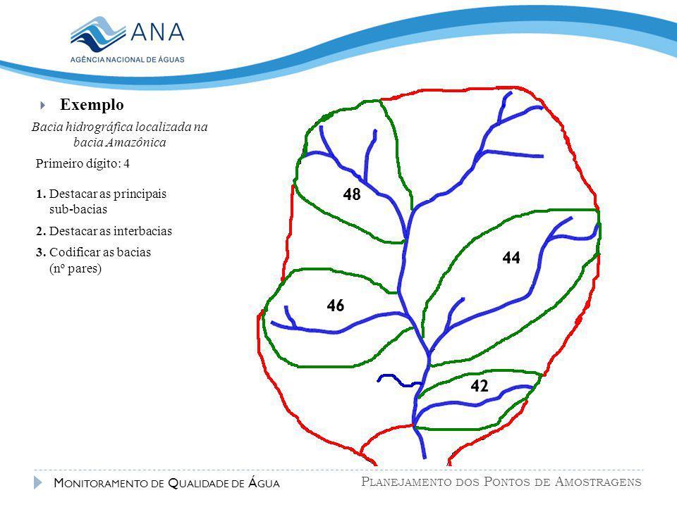 P LANEJAMENTO DOS P ONTOS DE A MOSTRAGENS M ONITORAMENTO DE Q UALIDADE DE Á GUA  Exemplo 42 44 46 48 Bacia hidrográfica localizada na bacia Amazônica