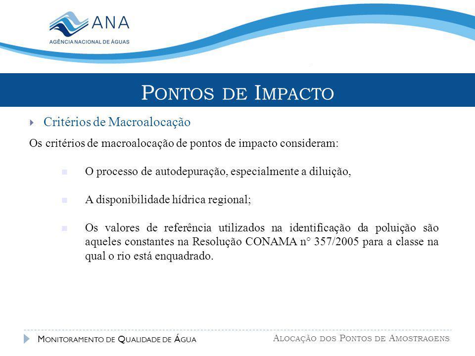 A LOCAÇÃO DOS P ONTOS DE A MOSTRAGENS M ONITORAMENTO DE Q UALIDADE DE Á GUA Os critérios de macroalocação de pontos de impacto consideram: O processo