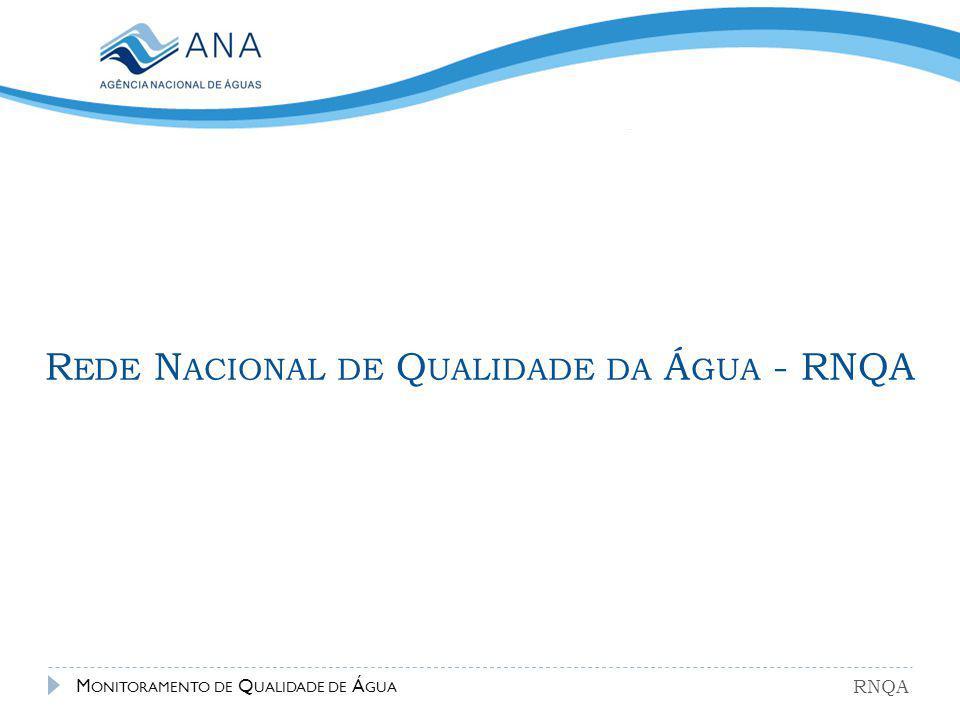 R EDE N ACIONAL DE Q UALIDADE DA Á GUA - RNQA RNQA M ONITORAMENTO DE Q UALIDADE DE Á GUA