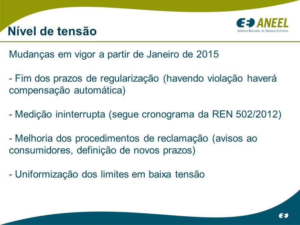 Nível de tensão Mudanças em vigor a partir de Janeiro de 2015 - Fim dos prazos de regularização (havendo violação haverá compensação automática) - Medição ininterrupta (segue cronograma da REN 502/2012) - Melhoria dos procedimentos de reclamação (avisos ao consumidores, definição de novos prazos) - Uniformização dos limites em baixa tensão