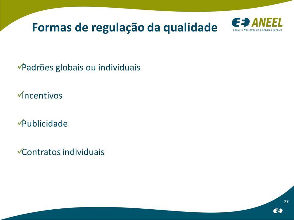 27 Formas de regulação da qualidade Padrões globais ou individuais Incentivos Publicidade Contratos individuais