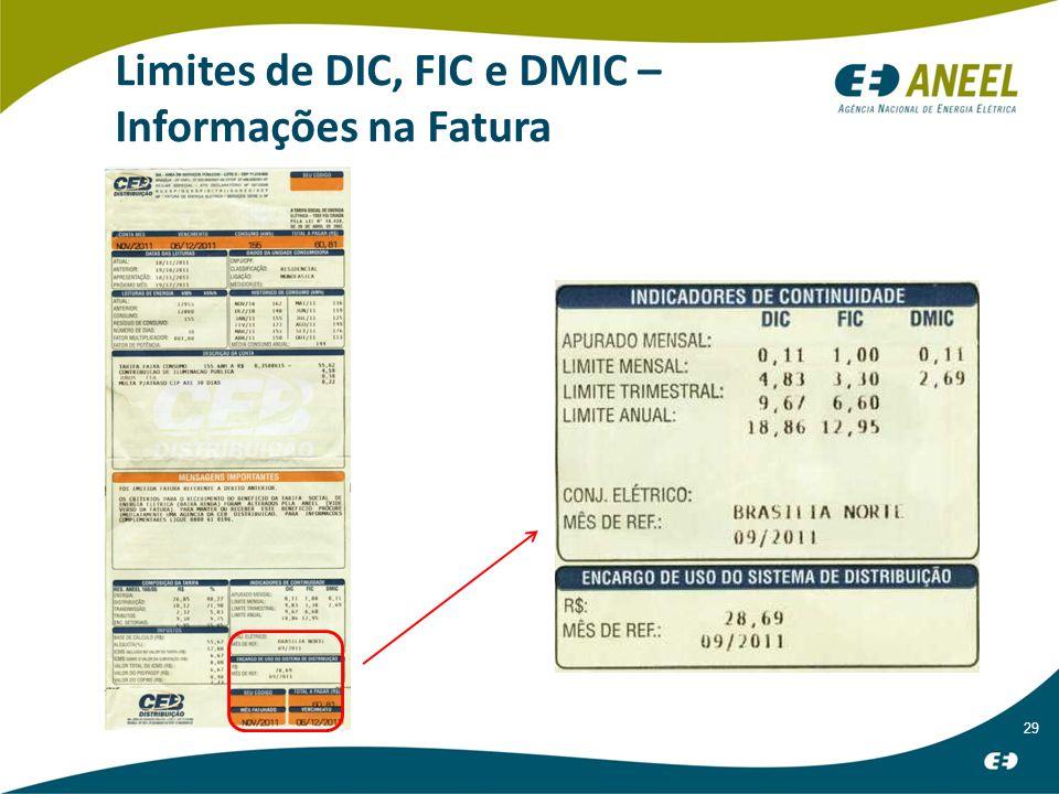 29 Limites de DIC, FIC e DMIC – Informações na Fatura
