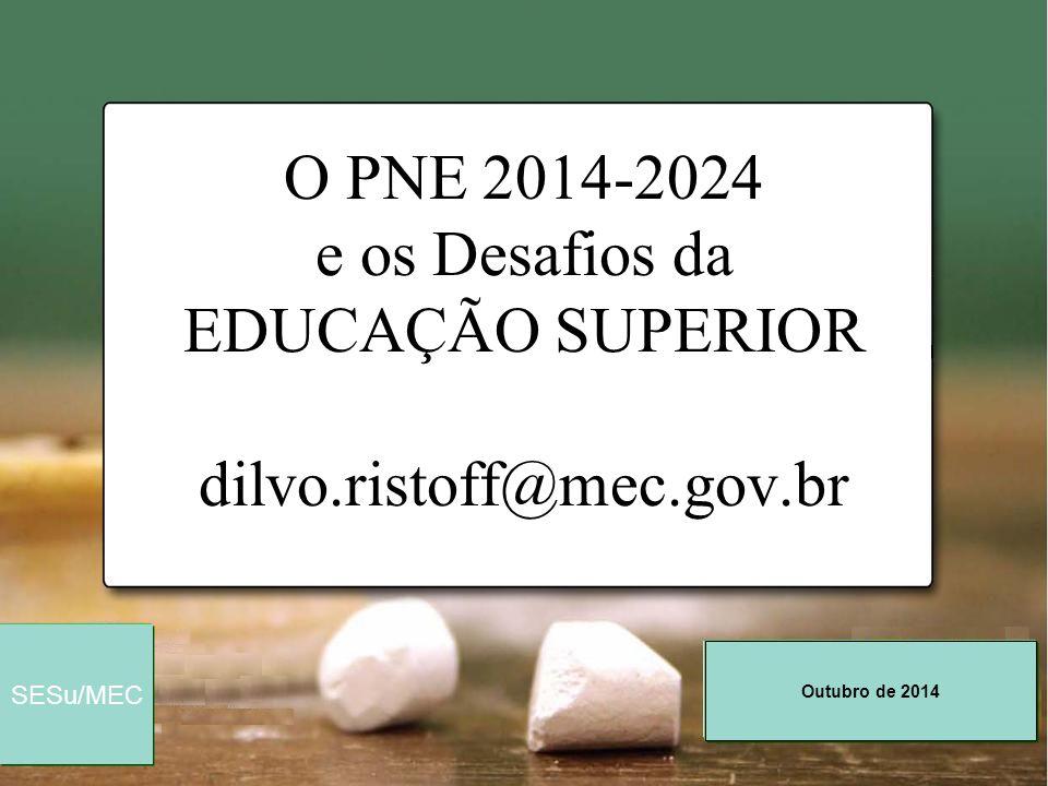 Outubro de 2014 SESu/MEC O PNE 2014-2024 e os Desafios da EDUCAÇÃO SUPERIOR dilvo.ristoff@mec.gov.br