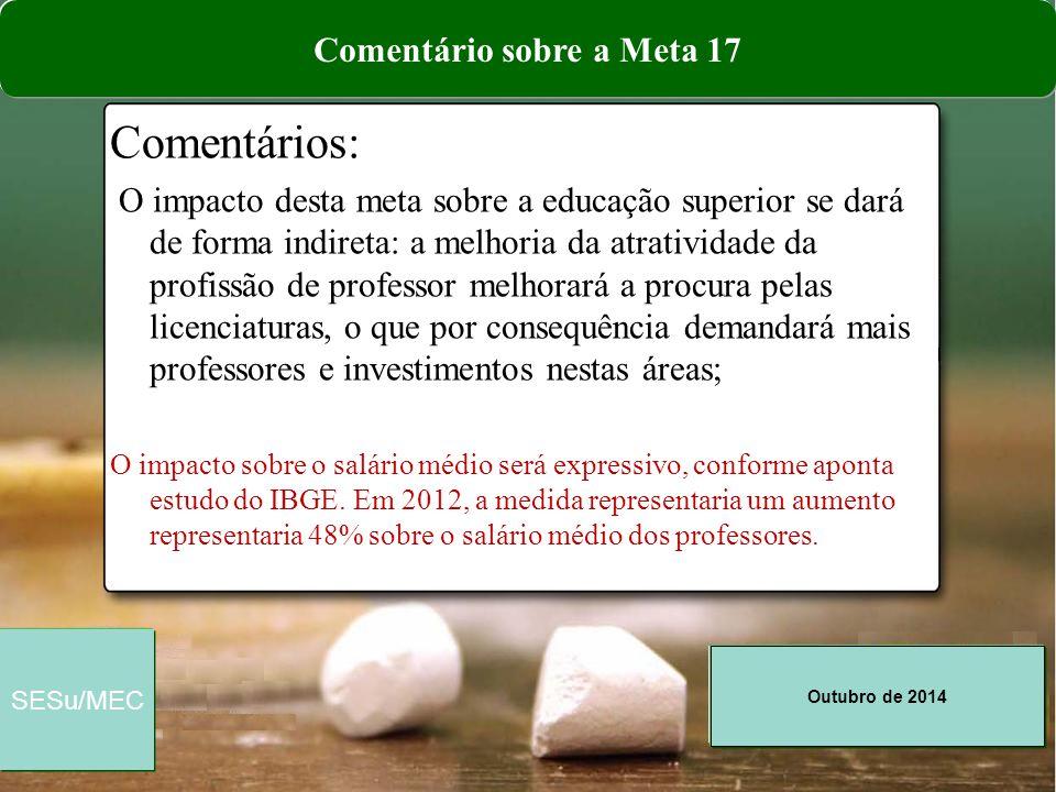 Outubro de 2014 SESu/MEC Comentários: O impacto desta meta sobre a educação superior se dará de forma indireta: a melhoria da atratividade da profissã
