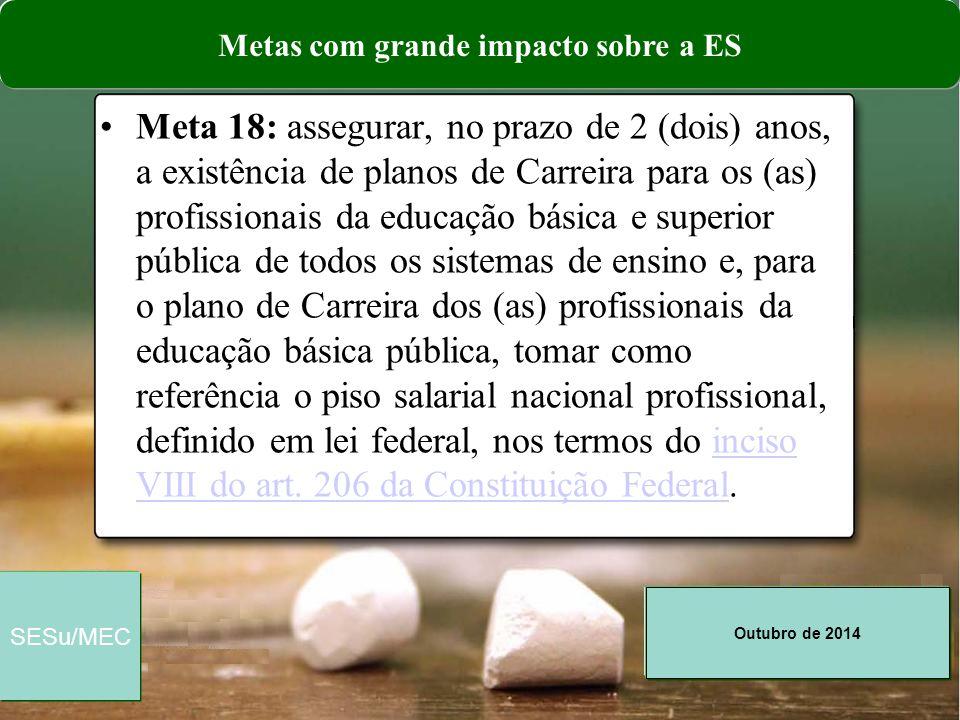 Outubro de 2014 SESu/MEC Meta 18: assegurar, no prazo de 2 (dois) anos, a existência de planos de Carreira para os (as) profissionais da educação bási