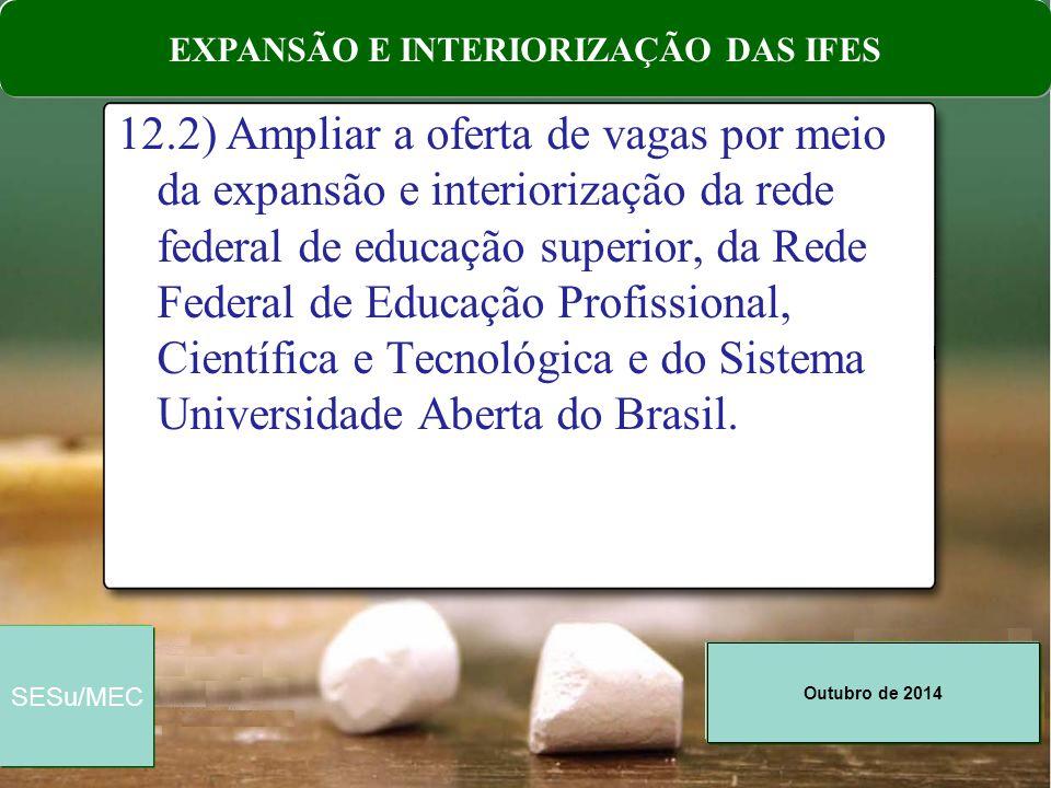Outubro de 2014 SESu/MEC 12.2) Ampliar a oferta de vagas por meio da expansão e interiorização da rede federal de educação superior, da Rede Federal d