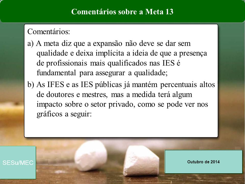 Outubro de 2014 SESu/MEC Comentários: a) A meta diz que a expansão não deve se dar sem qualidade e deixa implícita a ideia de que a presença de profis