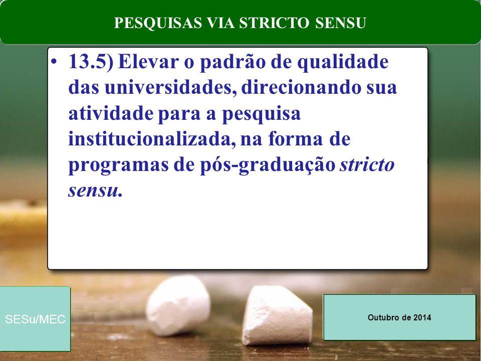 Outubro de 2014 SESu/MEC 13.5) Elevar o padrão de qualidade das universidades, direcionando sua atividade para a pesquisa institucionalizada, na forma