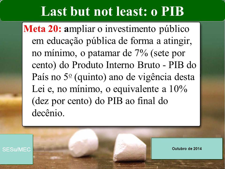 Outubro de 2014 SESu/MEC Meta 20: ampliar o investimento público em educação pública de forma a atingir, no mínimo, o patamar de 7% (sete por cento) d