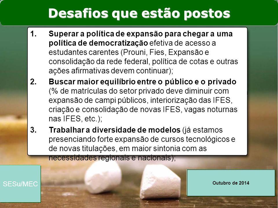 Outubro de 2014 SESu/MEC 1.Superar a política de expansão para chegar a uma política de democratização efetiva de acesso a estudantes carentes (Prouni
